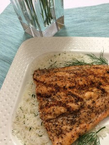 Grilled Salmon with Basmati Dill Rice