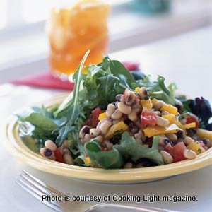 Salad Greens & Black-Eyed Pea Salsa. photo courtesy of Cooking Light magazine.