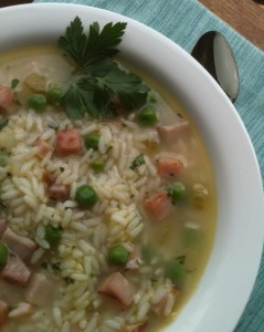 Rice & Peas Soup with Parmesan Cheese makes good use of leftover ham.